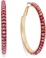 c.A.K.e by Ali Khan Gold-Tone Red Faceted Bead Hoop Earrings