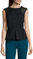 WORTHINGTON Worthington Sleeveless Eyelet Mixed Peplum Top - Tall