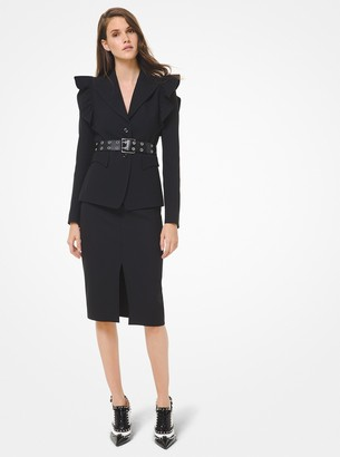 Michael Kors Double Crepe Sable Slit-Front Pencil Skirt