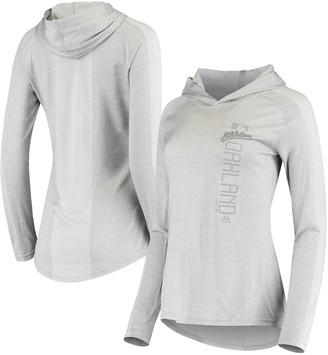 Majestic Women's Heathered Gray Oakland Athletics Authentic Collection Raglan Ultra-Light Pullover Hoodie