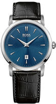 HUGO BOSS Mens Slim Ultra Round Stainless Steel and Leather Watch