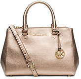 Michael Kors Sutton Small Metallic Leather Satchel