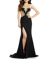 Glamour by Terani Couture High Neck Embroidered Illusion Cut-Out Insets Long Dress