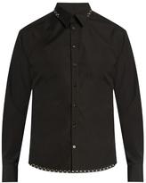 Alexander McQueen Geometric-trimmed cotton-poplin shirt