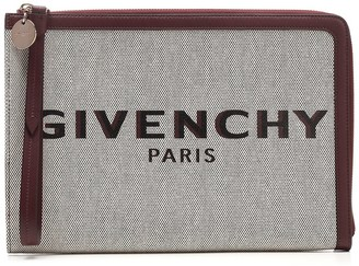 Givenchy Logo Embroidered Clutch Bag