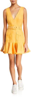 Zimmermann Super Eight Safari V-Neck Sleeveless Mini Dress