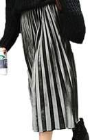Suvotimo Women Casual Loose Plus Size Pleuche Long Pleated Skirt 3XL