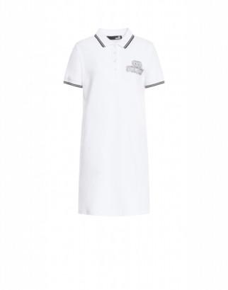 Love Moschino Short Dress Crystal Logo Woman White Size 38 It - (4 Us)