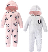 Hudson Baby Girls' Rompers Pink - Gray Dot & Pink Penguin Fleece Hooded Playsuit Set - Newborn & Infant