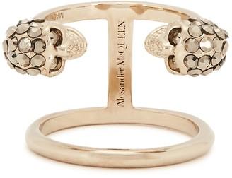 Alexander McQueen Twin Skull Gold-tone Ring