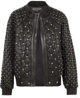 Balmain Studded Quilted Leather Bomber Jacket - Black
