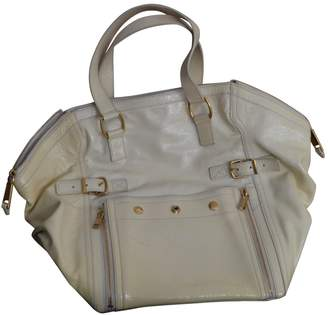Saint Laurent Downtown Ecru Patent leather Handbags