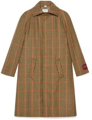 Gucci Check wool coat with label