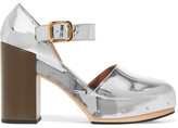 Marni Metallic Leather Platform Pumps - Silver