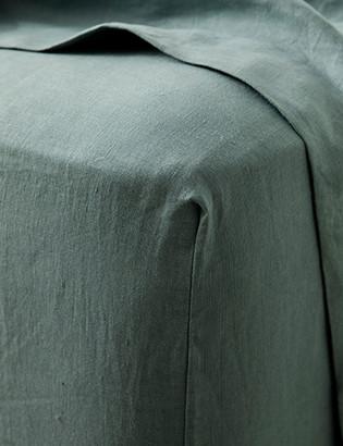 Lulu & Georgia Cultiver Linen Bedding, Bluestone Fitted Sheet