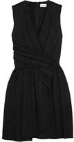 Carven Wrap-effect Matelassé Mini Dress - Black