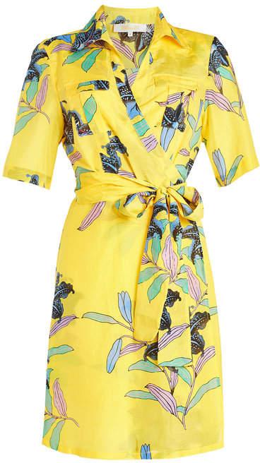 Diane von Furstenberg Printed Wrap Dress in Cotton and Silk