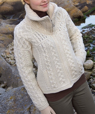West End Knitwear Women's Cardigans NATURAL - Natural Merino Wool Zip-Up Cardigan - Women