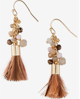 Express beaded cluster feather tassel earrings