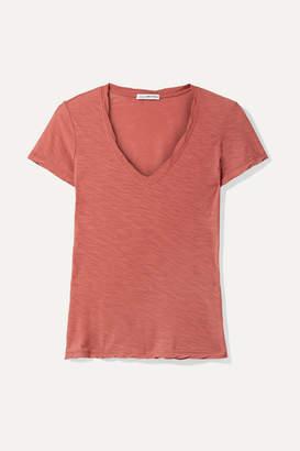 James Perse Casual Slub Supima Cotton-jersey T-shirt - Brick
