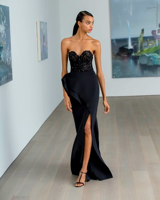 Badgley Mischka Lace Bodice Strapless Gown