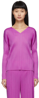 Pleats Please Issey Miyake Purple Pleats V-Neck Pullover