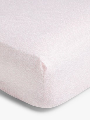 John Lewis & Partners Leckford Bunny Cotton Fitted Cotbed Sheet, 70 x 140cm, Pack of 2, Pink/White