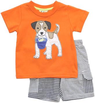 CR Kids Boys' Casual Shorts ORANGE - Orange Beach Dog Crewneck Tee & Black Stripe Shorts - Infant & Toddler