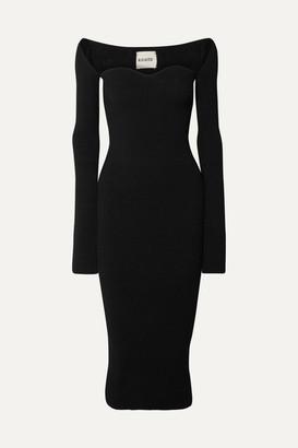 KHAITE Beth Ribbed-knit Midi Dress - Black