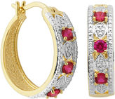 SPARKLE ALLURE Classic Treasures Lab-Created Ruby and Diamond-Accent Hoop Earrings