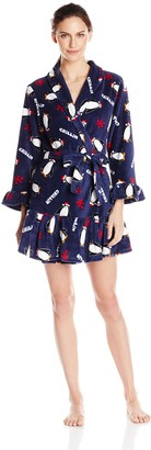 Casual Moments Women's 34 Inch Wrap Robe with Ruffle Trim