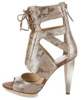 Brian Atwood Embossed Lace-Up Sandals