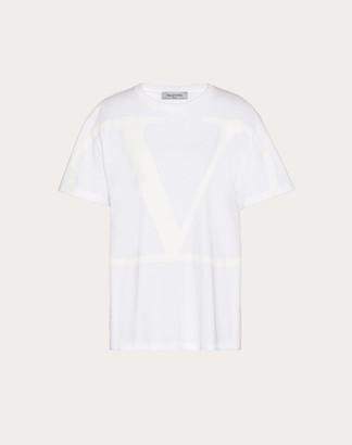 Valentino Vlogo Signature Printed T-shirt Women White 100% Cotone L