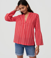 LOFT Petite Striped Bell Sleeve Softened Shirt
