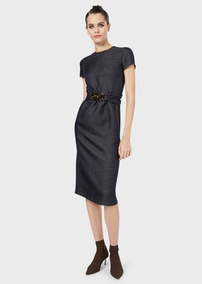 Giorgio Armani Denim-Style Sheath Dress With Tortoiseshell Details