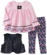 Kids Headquarters 3-Pc. Faux-Fur Vest, Embroidered Tunic and Denim Leggings Set, Little Girls (4-6X)