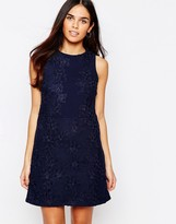 Warehouse Cut Out Floral Lace Dress