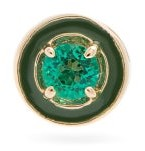 Alison Lou E Emerald & 14kt Gold Single Stud Earring - Green