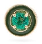 Alison Lou E Emerald & 14kt Gold Single Stud Earring - Womens - Green