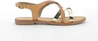 Kickers Ethy Leather Mix Flat Sandals with Braided Strap