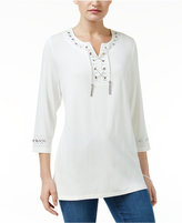 JM Collection Petite Embellished Lace-Up Tunic, Only at Macy's