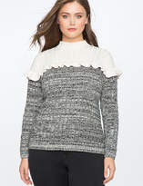 ELOQUII Colorblocked Marl Sweater