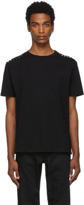 Valentino Black Shoulder Rockstud T-Shirt