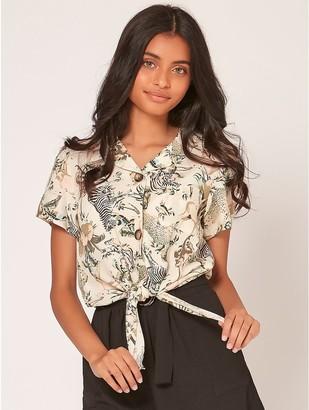 M&Co Teen tie front animal print shirt
