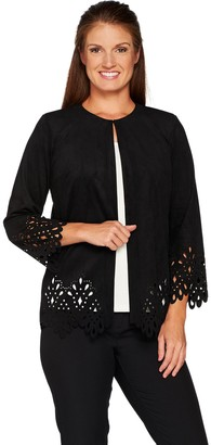 Bob Mackie Faux Suede Jacket with Cut Out Detail