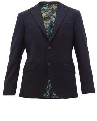 Etro Floral Jacquard Wool Blend Blazer - Mens - Navy
