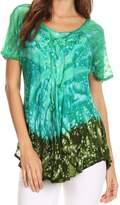 Sakkas 17781 - Mira Tie Dye Two Tone Sheer Cap Sleeve Relaxed Fit Embellished Tunic Top - OSP