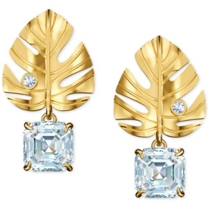 Swarovski Gold-Tone Crystal Leaf Stud Earrings