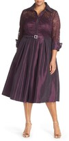Eliza J Lace & Taffeta Point Collar Midi Dress (Plus Size)