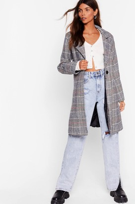 Nasty Gal Womens Check Up on 'Em Button-Down Trench Coat - Grey